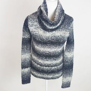 Splendid Boucle Turtle Neck Striped Sweater S Gray